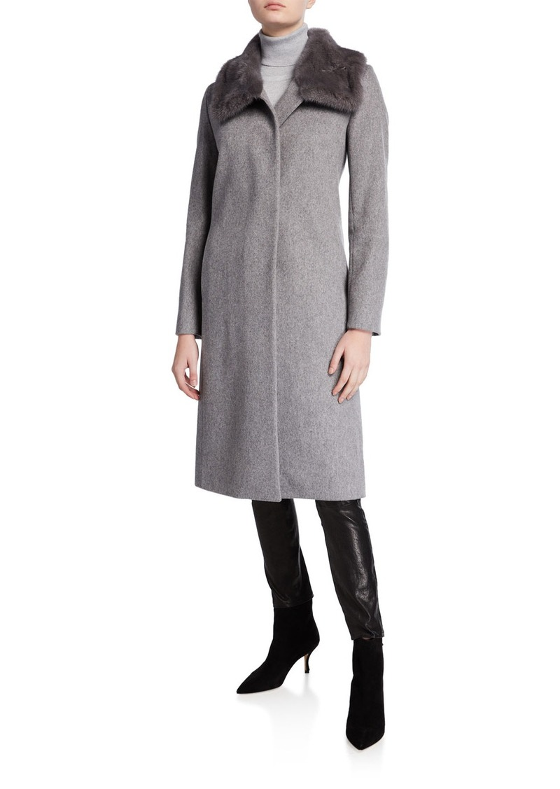 Cinzia Rocca Mink-Trim Long Virgin Wool Coat
