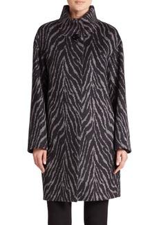 Cinzia Rocca Printed Alpaca & Wool Coat