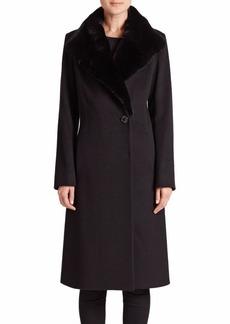 Cinzia Rocca Rabbit Fur-Collar Wool Walking Coat