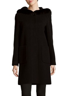 Cinzia Rocca Rabbit Fur Trim Wool-Blend Coat