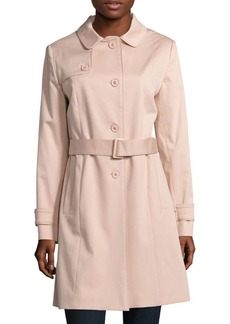 Cinzia Rocca Solid Spread-Collar Trench Coat