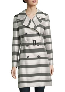 Cinzia Rocca Striped Double-Breased Coat