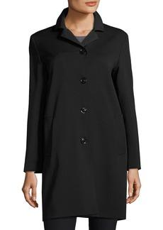 Cinzia Rocca Wool-Bend Four-Button Coat  Black