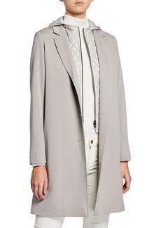Cinzia Rocca Wool Coat w/ Quilted Hood & Bib