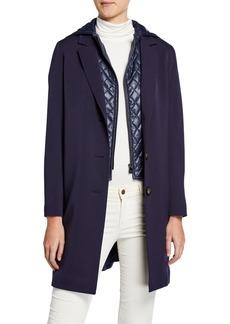 Cinzia Rocca Wool Coat w/ Quilted Hood & Bib  Navy