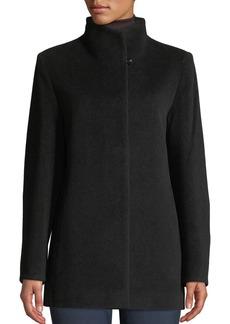 Cinzia Rocca Convertible-Collar Button-Front Wool-Blend Coat