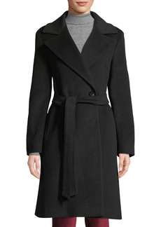 Cinzia Rocca Double-Breasted Wool-Blend Belted Coat