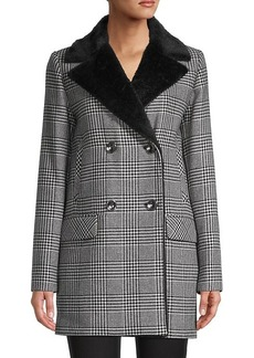 Cinzia Rocca Faux Fur & Wool-Blend Houndstooth Jacket