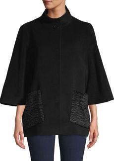 Cinzia Rocca Faux Fur Pocket Wool-Blend Coat
