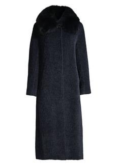 Cinzia Rocca Fox Fur Collar Wool & Suri Alpaca Coat