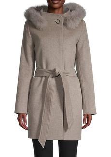 Cinzia Rocca Fox Fur-Trimmed Wool & Cashmere Car Coat