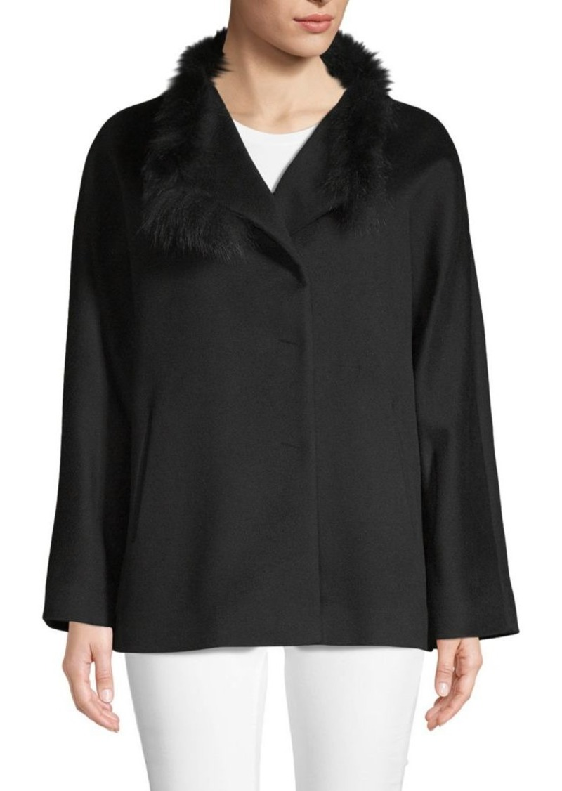 Cinzia Rocca Fox Fur-Trimmed Wool Jacket