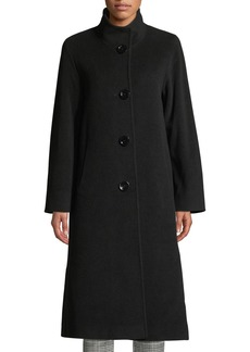 Cinzia Rocca Funnel-Neck Button-Front Wool-Blend Coat