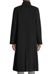 Cinzia Rocca Funnel-Neck Button-Front Wool-Blend Coat