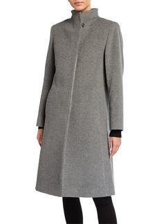Cinzia Rocca Funnel-Neck Wool/Cashmere-Blend Coat