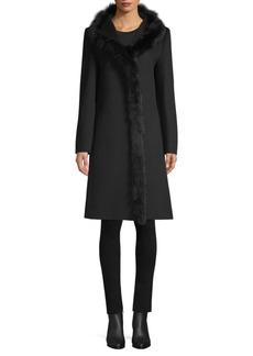 Cinzia Rocca Fur Trimmed Wool Walker Coat