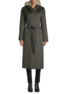 Cinzia Rocca Golden Fox Fur-Trim Hooded Coat