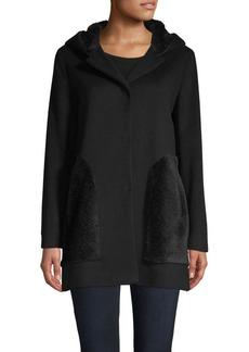 Cinzia Rocca Hooded Faux Fur Wool-Blend Jacket