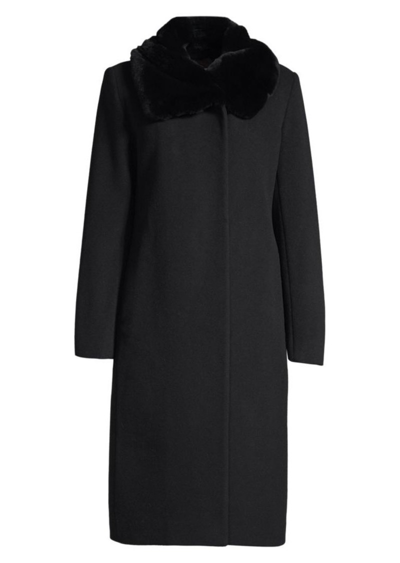 Cinzia Rocca Icon Rabbit Fur Collar Wool Coat