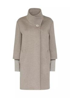 Cinzia Rocca Knit Trim Virgin Wool Coat