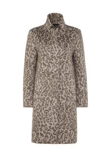 Cinzia Rocca Leopard-Print Wool-Blend Coat