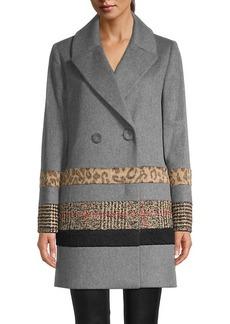 Cinzia Rocca Mixed Media Wool-Blend & Faux Fur Coat