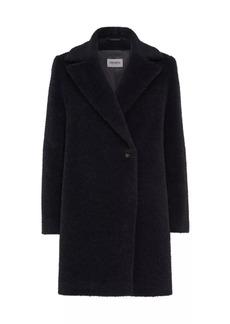 Cinzia Rocca Notched Lapel Textured Alpaca Wool Coat