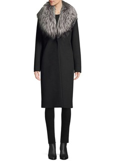 Cinzia Rocca Silver Fox Collar Wool Coat