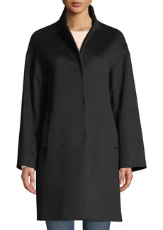 Cinzia Rocca Snap-Button Wool-Blend Cocoon Coat  Black