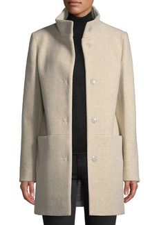 Cinzia Rocca Snap-Button Wool-Blend Walking Coat  Beige