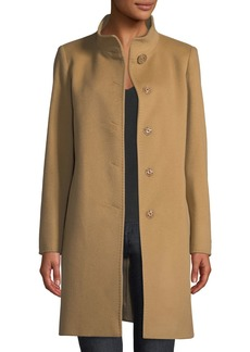 Cinzia Rocca Snap-Front Wool-Blend Walking Coat  Camel