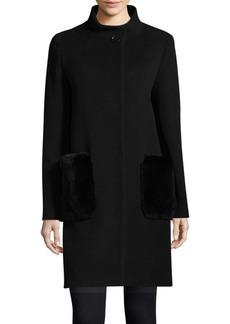 Cinzia Rocca Stand Collar Rabbit Fur-Accented Coat