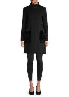 Cinzia Rocca Virgin-Wool & Cashmere Rabbit Fur Patch Pocket Coat