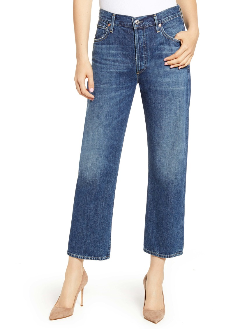 Citizens of Humanity Emery High Waist Relaxed Crop Jeans (Blue Rose)