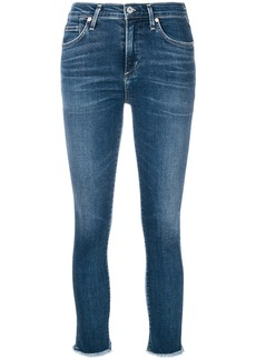 Citizens Of Humanity frayed hem cropped skinny jeans - Blue