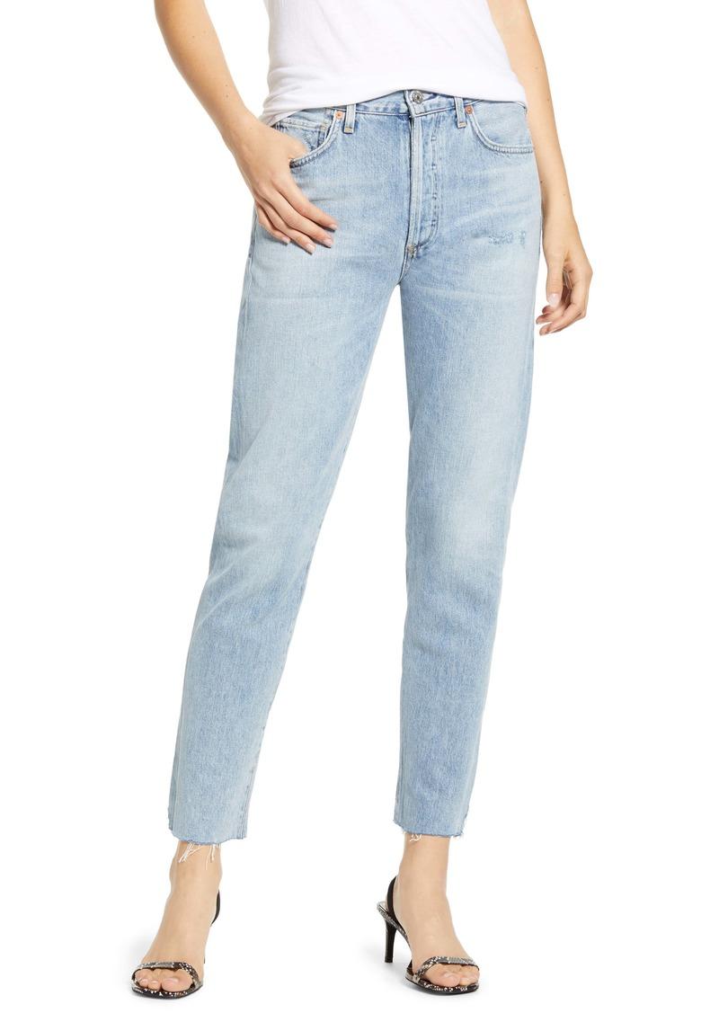 Citizens of Humanity Liya High Waist Raw Hem Slim Jeans (Coastal)