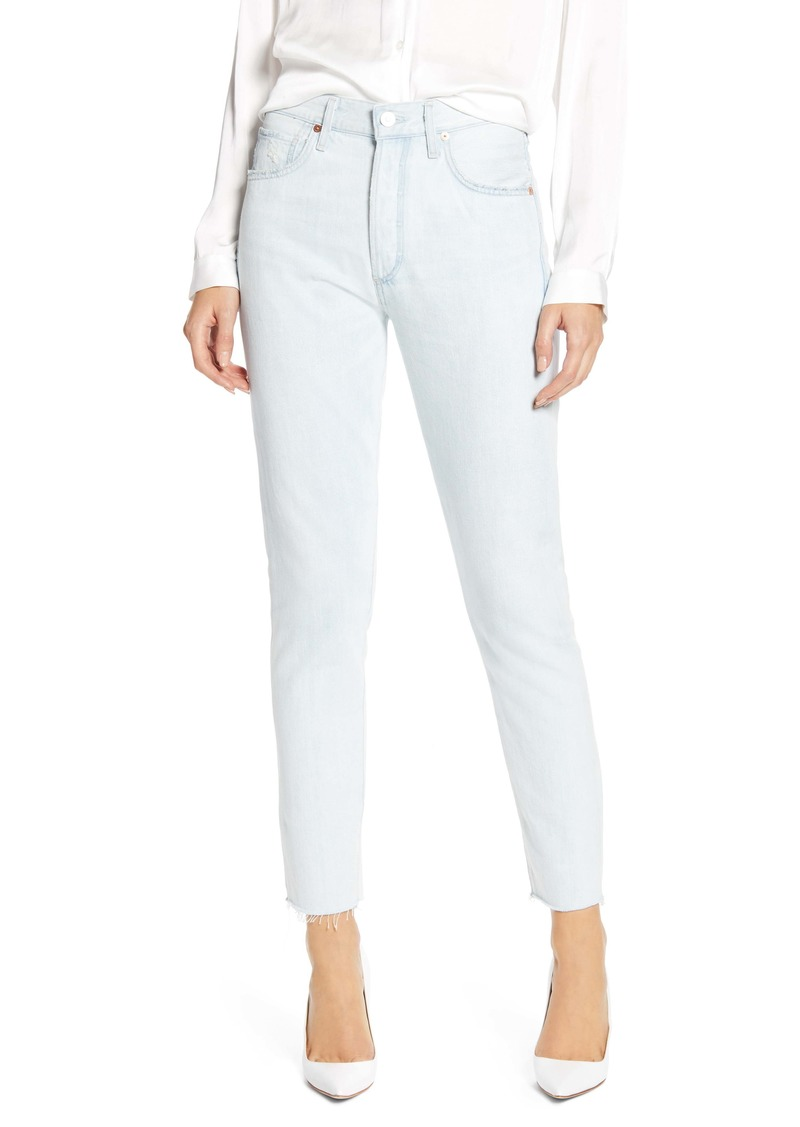 Citizens of Humanity Liya High Waist Raw Hem Slim Jeans (Unravel)