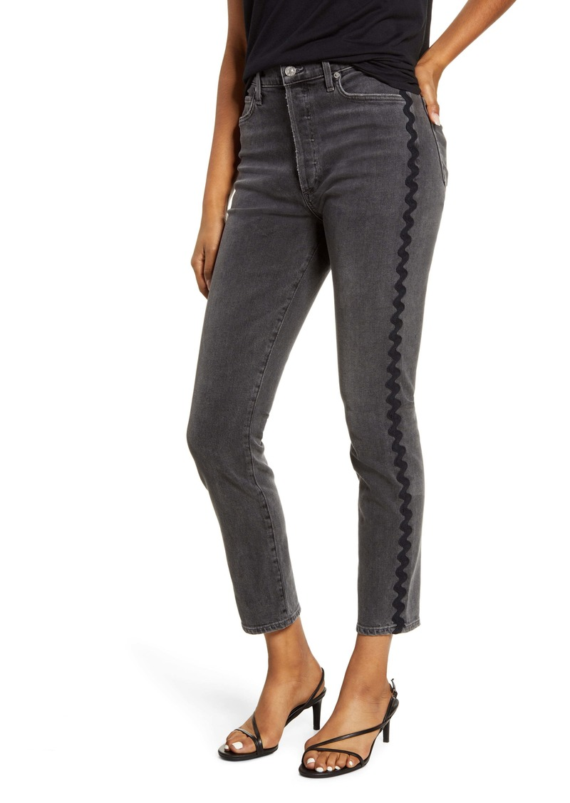 Citizens of Humanity Olivia High Waist Wavy Side Stripe Slim Jeans (Date Night Black Wave)