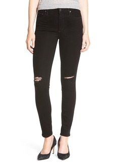 Citizens of Humanity 'Rocket' High Rise Distressed Skinny Jeans (Ripped Black)