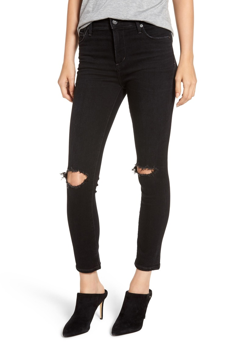 Citizens of Humanity Rocket High Waist Ripped Ankle Skinny Jeans (Siren)