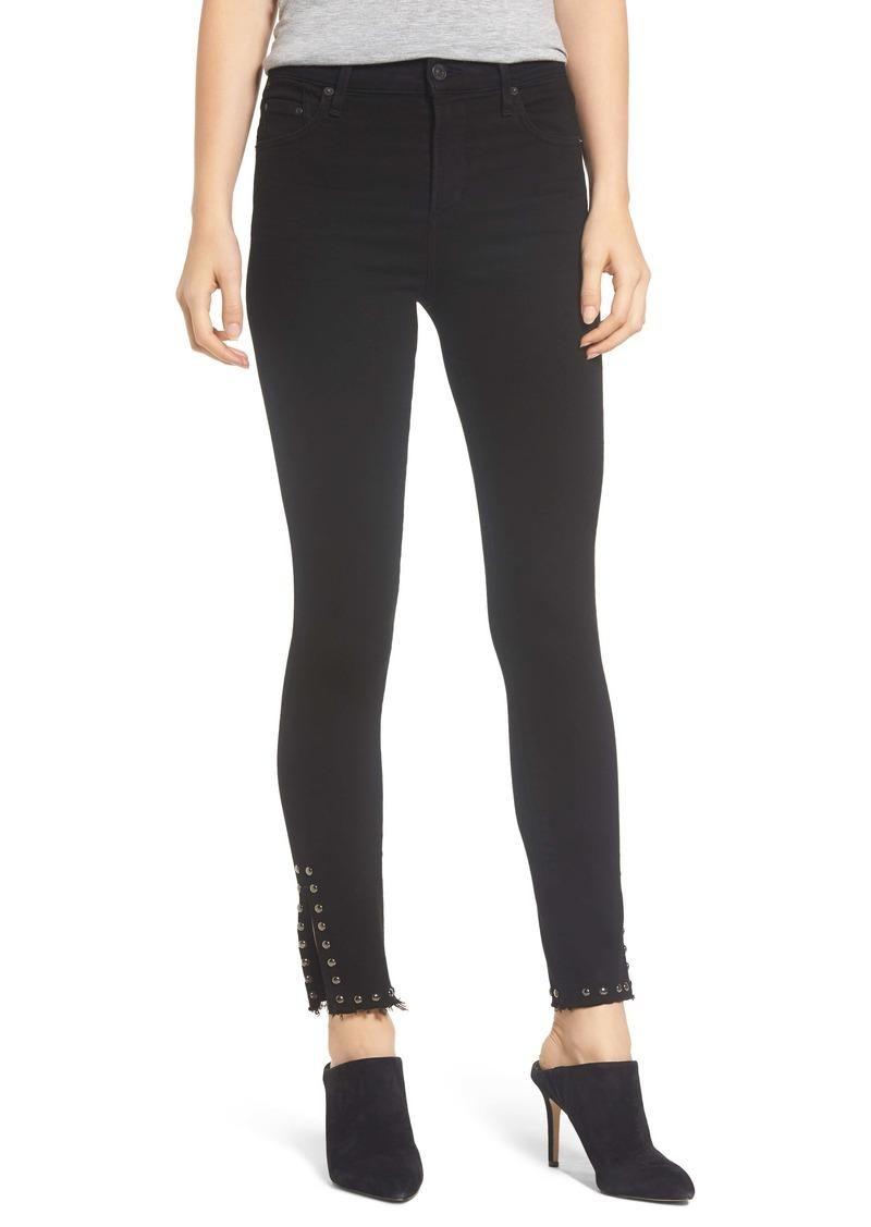 Citizens of Humanity Rocket High Waist Stud Split Hem Skinny Jeans (Cavern)