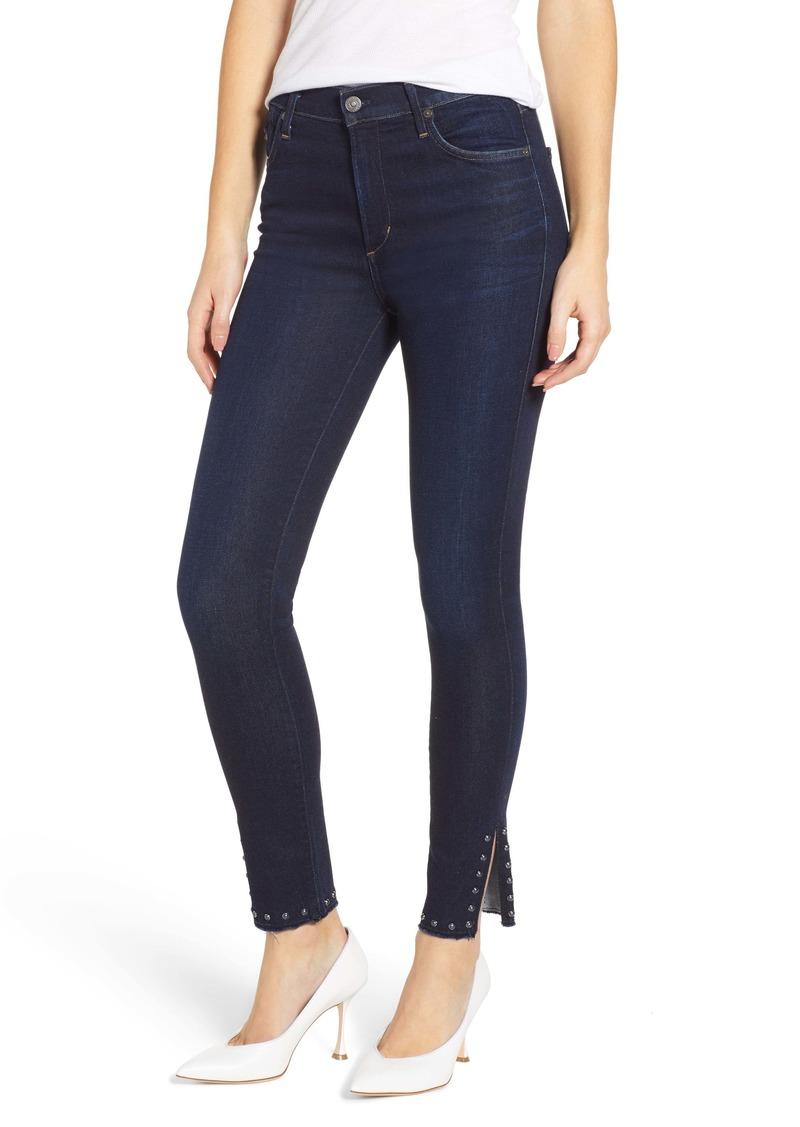 Citizens of Humanity Rocket Stud Split Hem High Waist Ankle Jeans (Awe)