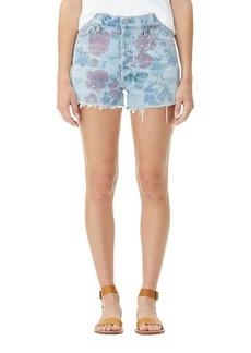 Citizens of Humanity Kristen Floral-Print High-Rise Light-Wash Denim Shorts