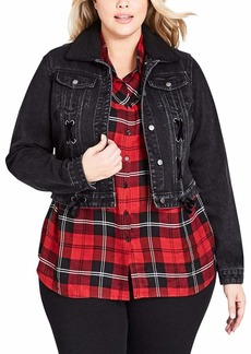 City Chic Women's Apparel Women's Plus Size Denim Detailed Jacket  XL