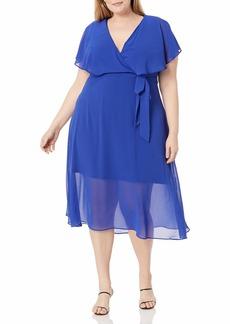 City Chic Women's Apparel Women's Plus Size Dress Softly Tied  L