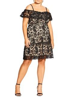 Plus Size Women's City Chic Dream Of Lace Cold Shoulder Dress