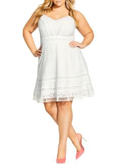 Plus Size Women's City Chic Fabricia Embroidered Cotton Minidress