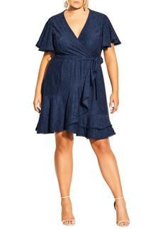 Plus Size Women's City Chic Lace Faux Wrap Minidress