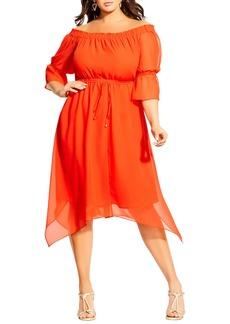 Plus Size Women's City Chic Reflections Off The Shoulder Handkerchief Hem Dress