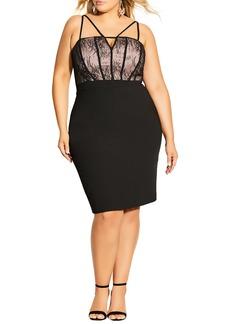 Plus Size Women's City Chic Sensuous Sleeveless Lace Trim Dress